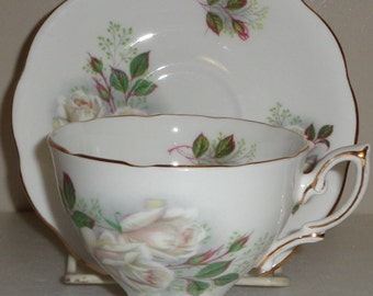 Royal Standard White and Salmon Roses Cup and Saucer Fine Bone China Made in England
