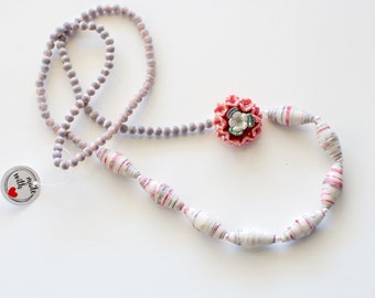 Pink flower necklace, gray & pink necklace, paper bead necklace, pink statement necklace, lightweight necklace, girls necklace birthday gift