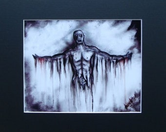 Tortured Man No Eyes Torn Apart Art Print of Original Painting Black Matted To 11x14