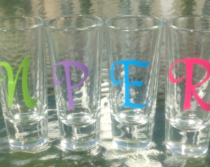 7 Personalized SHOT GLASSES Bride Bridesmaids Bachelorette Bridal Party with Initial Name Word & Polka Dots