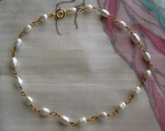 Pearl and Gold Bracelet or Anklet