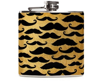 Mustache Flask for Men, Personalized Groomsman Gift, Custom Wedding, Bachelor Party, Stainless Steel 6oz Hip Flask