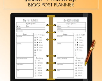 PERSONAL Blog Post Social Media Blogger Planner Insert Printable | Fits Kikki K Medium & Filofax Personal INSTANT DOWNLOAD