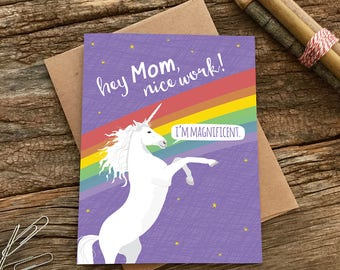funny mother's day card / birthday card / magnificent unicorn