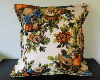 Fall Garden Vintage Fabric 16x16 Pillow Cover