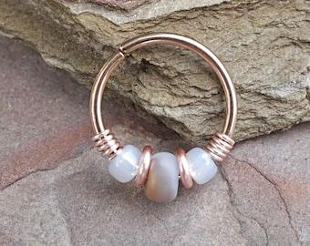 16g 18g 20g Rose Gold Helix Hoop Beaded Grey and White Hoop Earring Nose Hoop Nose Ring Cartilage Hoop Tragus Hoop