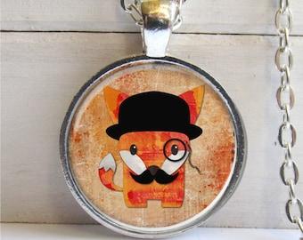 Fox Pendant, Pop Art Jewelry, Funny Fox Necklace, Fox Jewelry