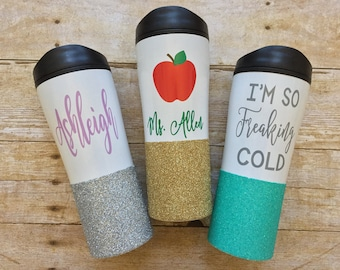 CREATE YOUR OWN, Personalized Glitter Dipped Coffee Travel Mug Tumbler, Glitterdipped Coffee Travel Mug Tumbler, Travel Tumbler, Mama Bear