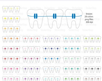 Braces or Orthodontist Digital Clipart - Instant download PNG files