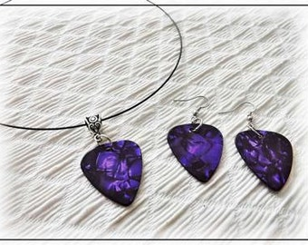 Guitar Pick Choker Necklace and Earring Set