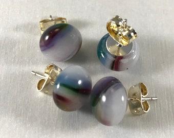 Multicolored Stud Earrings, Glass Stud earrings, Small Studs, hypoallergenic earrings, Nickel Free Studs, Round studs, Fused