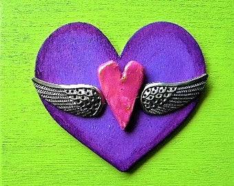 Decorated box, keepsake box, trinket box, heart wings, heart