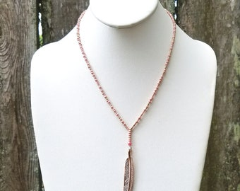 Beaded Rose Gold Feather Lariat