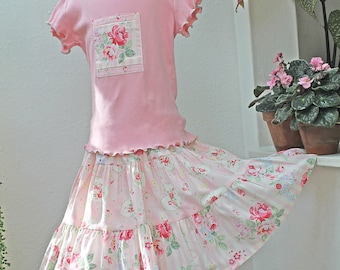 Pink Rose Girls Spring Outfit Handmade Girl Clothes Ruffle Twirl Skirt Tiered Girl Skirt Top Set Size 2T 3T 4T 5 6 7 8 10 12 14 Preteen Gift