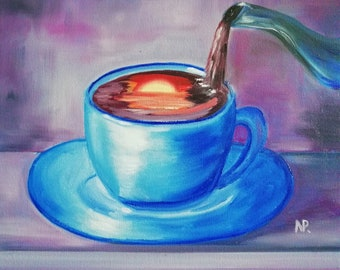 Blue cafe, sunset in a cup, Gift ,still life, original oil painting