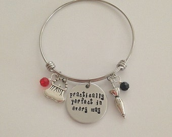 "Disney Mary Poppins bangle bracelet ""practically perfect in every way"" charm bracelet disney jewelry hand stamped"