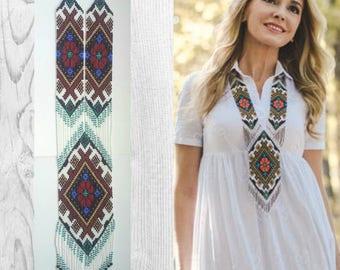 Gerdan festive with beads  Ukrainian style ethno style weaving