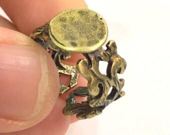 Ring Blank Base Bezel Setting Adjustable  Blank, (10mm blank ) Antique Bronze Plated Brass G5636