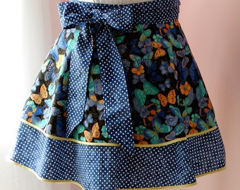 BUTTERFLIES & DOTS APRON Cotton Print Flirty Half Apron 2 Tiers Women's Kitchen Accessory Extra Long Ties