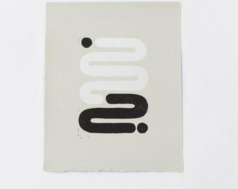 """Linocut Print - """"Line Upon Line"""""""