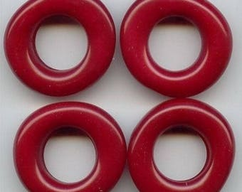 6 Vintage Wine Red Acrylic 9x28mm. Baroque Nugget Ring Beads 6252