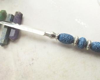 letter opener - imari style blue beads - silver letter opener - gift for friend - office decor gift - stationary tool