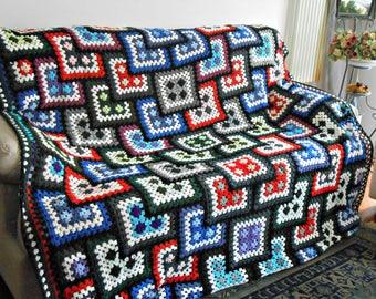 Granny Square crocheted blanket, hygge blanket, handmade afghan 100% pure Merino wool, crochet blanket by cosediisa