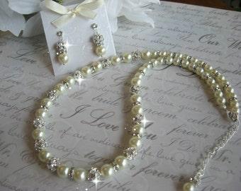 Swarovski Rhinestone and Pearl Bridal Wedding Necklace and Rhinestone Stud  Earring Set -Ultimate Bride or Bridesmaid Pearl Jewelry Set