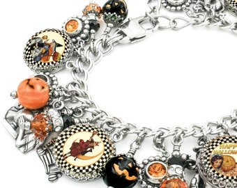 Halloween Charm Bracelet, Pumpkin Bracelet, Pumpkin Charms, Halloween Bracelet, Halloween Images