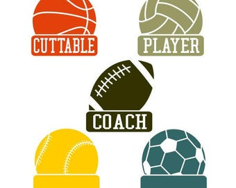 Football Soccer Tennis Basketball Volleyball Frames Cuttable Design SVG PNG DXF & eps Designs Cameo File Silhouette