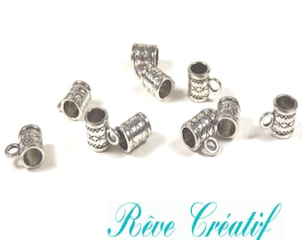 Bails tribal style, ties pendant, connectors, length 11mm, width 8mm, 11x8mm holes 2.4 mm and 4.7 mm, silver, 10 pieces