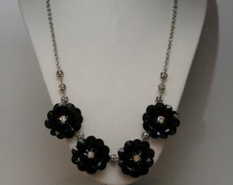 Black Acrylic and Rhinestone Flower Necklace