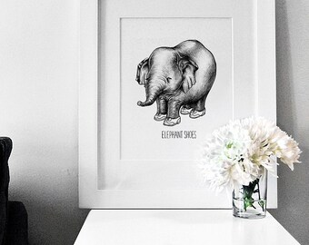 Valentine's Day: Elephant Shoes (I Love You) - Wall Decor Art Print