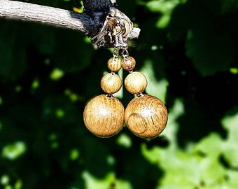 Wood Earrings, Round Beads Wood Earrings, Brown Earrings, Earrings for Women,  Wooden Jewelry