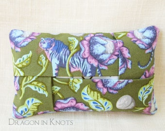 Tiger Travel Tissue Holder - Olive Green Facial Tissue Pouch, Purple Lotus Blossom Pocket Tissue Cover, Floral Fabric Accessory, pink aqua