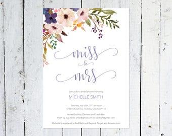 Bridal Shower Invitation, Miss To Mrs., Boho Bridal Shower Invitation,  Lavender, Floral, Purple, Violet, Watercolor, Printable, Printed
