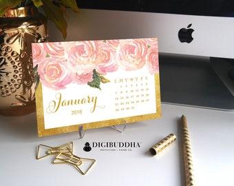 2018 PLANNER Desk Calendar 2018 Pretty Planner Desk Accessories Office Accessories 2018 Calendar Floral Calendar Office Calendar - Leona