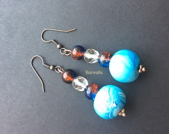Polyallergenic Polymer clay resin beads earrings clay crystals glass shades of the sea