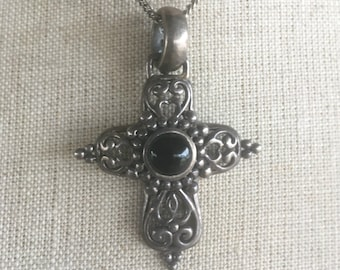 Vintage Cross Necklace Ornate Cross Pendant Sterling Silver Gothic Cross Modern Black Cabochon Religious Jewelry