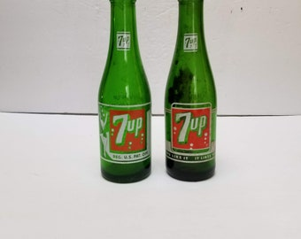 Vintage 7up Soda Pop Bottles Glass Green Bubble Swimsuit 7 oz Fresh Up You Like it