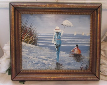 Antique, vintage  French oil on board painting , signed, framed.  Gorgeous seaside scene with sailing boats