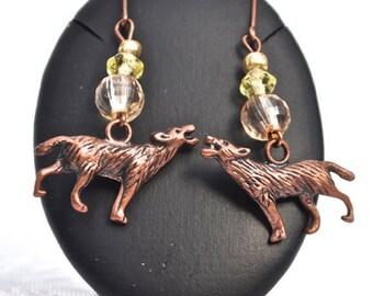 Little Wolf Howl Copper Earrings