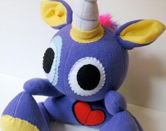 Rowdy One Horn - Jumbo purple plush unicorn with rainbow mohawk, stuffed unicorn plush, unicorn softie