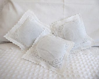 Repurposed vintage embroidered lavender sachets, set of 3 filled with Australian lavender