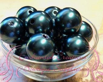 24mm Dark Teal Acrylic Pearl Beads Qty 6