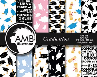 Graduation digital papers, Graduation papers, Graduation scrapbook papers, graduation cap papers, commercial use, AMB-516