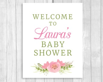 SALE Custom Personalized Printable Baby Shower Welcome Sign with Pink Watercolor Flowers - Any Size - Features MOM-to-be's NAME