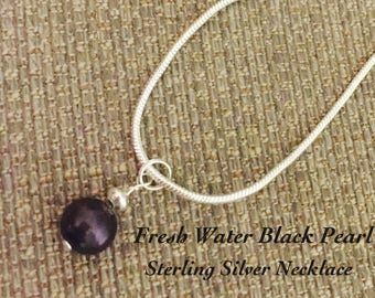 Black Fresh Water Single Drop Pearl on a Sterling Silver Necklace #blackpearlnecklace
