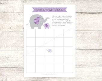 baby shower bingo game card printable DIY elephants purple lavender grey cute baby girl digital shower games - INSTANT DOWNLOAD