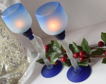 Frosted glass twisted stem pair of blue candle holders